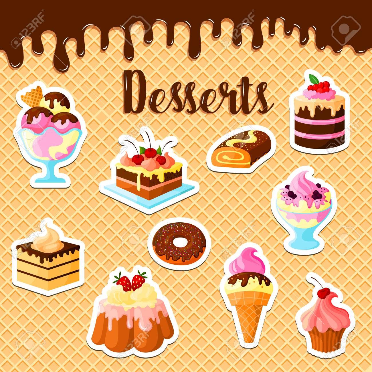 pasteles de repostería y postres en el cartel de la galleta de