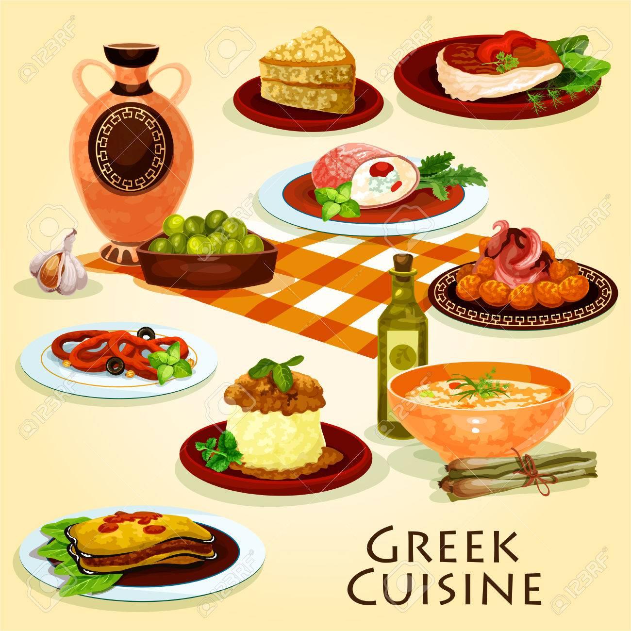 Cuisine Grecque Traditionnel Diner Icone De Dessin Anime Clip Art