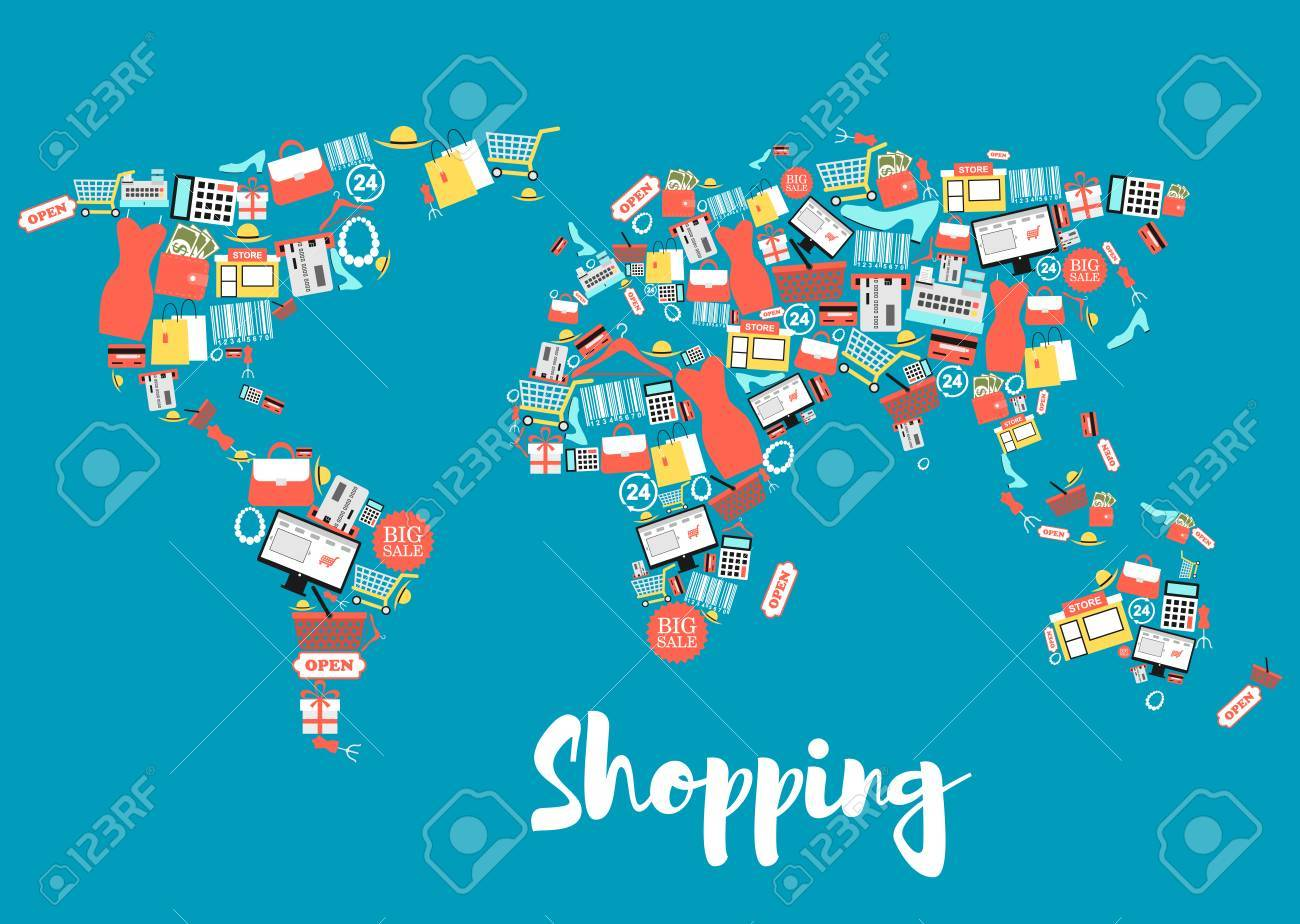 World Map With Shopping And Sale Icons Royalty Free Cliparts ...