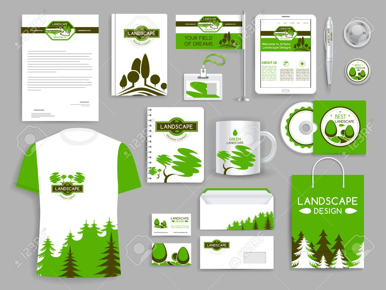 Corporate Identity Set Landscape Design Company Stock Vector   77608818