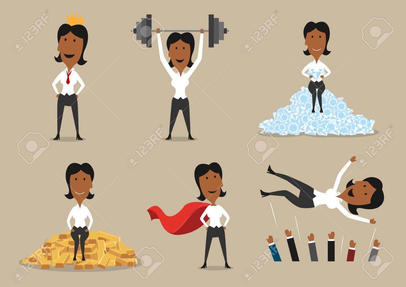 Success and victory achievements vector concept. Super mighty leader woman or winner business character in golden crown, holding barbell, sitting on gold and diamonds and cheered on hands - 77777862