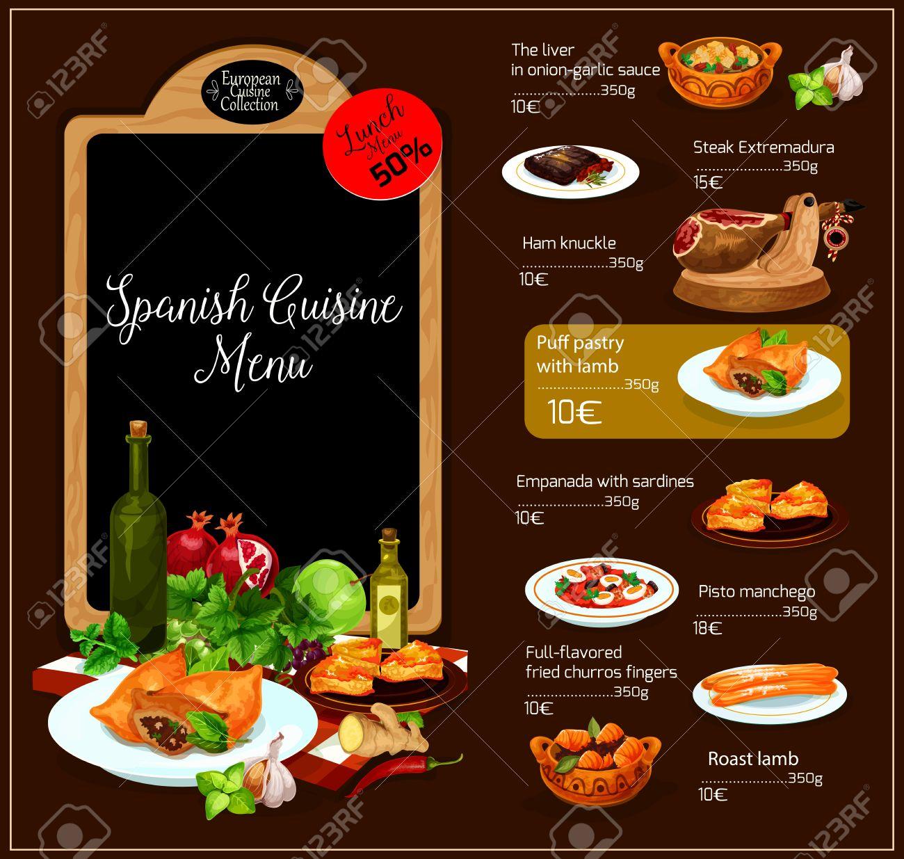 Spanisch Restaurant Vektor-Menü. Spanien Traditionelle Küche Design ...