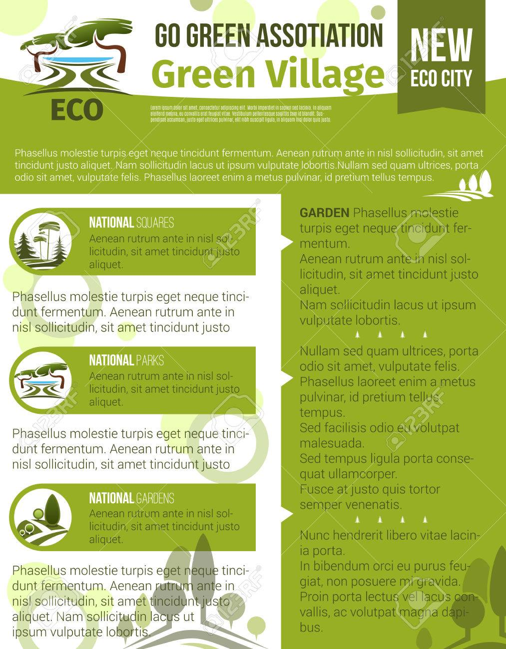 Green Pueblo Y Eco Vector De Jardinería Cartel Para La Horticultura ...