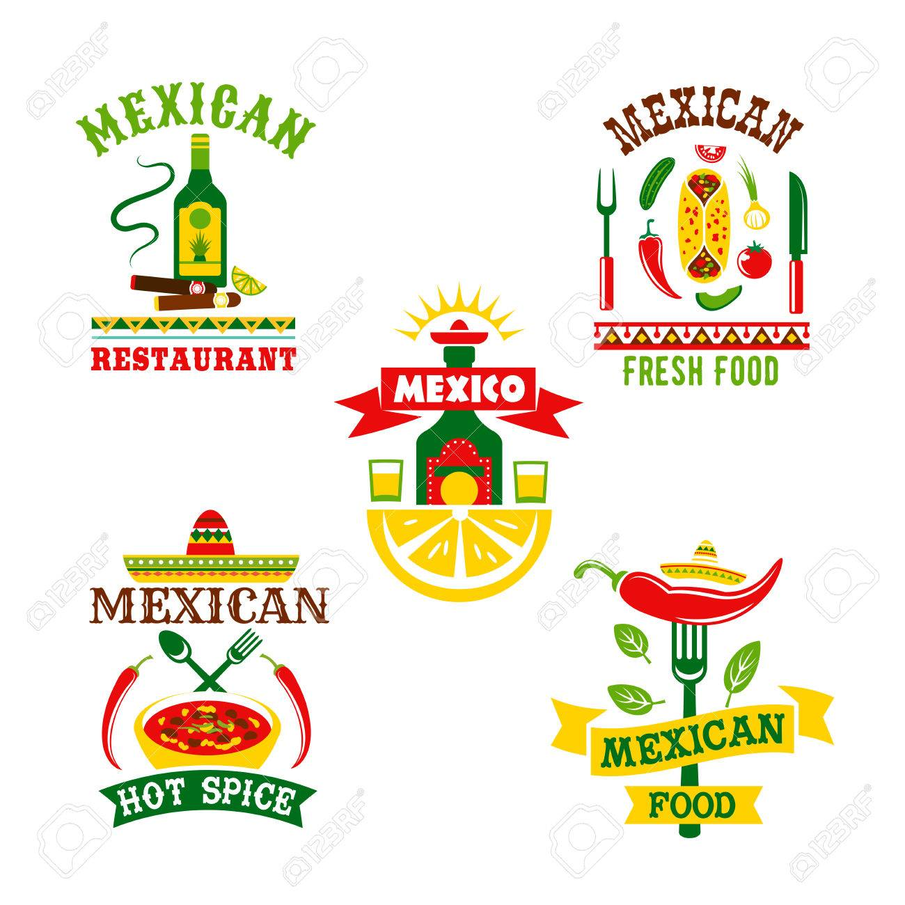 Restaurante Mexicano O Iconos De Vector De Café De La Comida ...