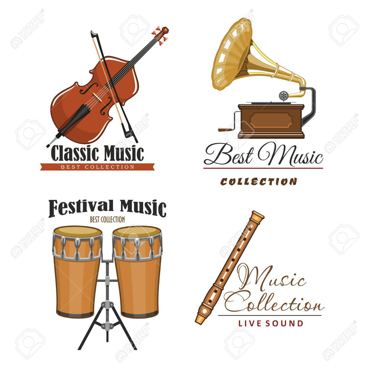 Live music festival vector icons set for musical sound fest or live music festival vector icons set for musical sound fest or concert labels isolated symbols biocorpaavc Gallery