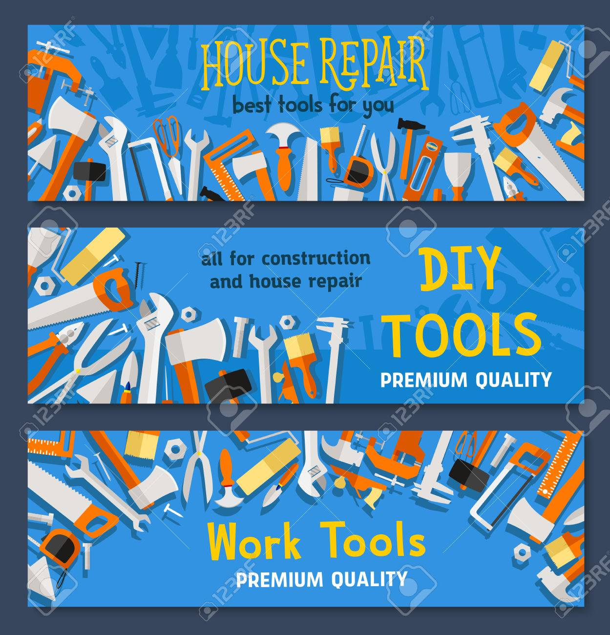 Work tools vector banners of carpentry instruments drill or hammer vector work tools vector banners of carpentry instruments drill or hammer and tape measure ruler spanner and saw plaster trowel and paint brush or solutioingenieria Image collections