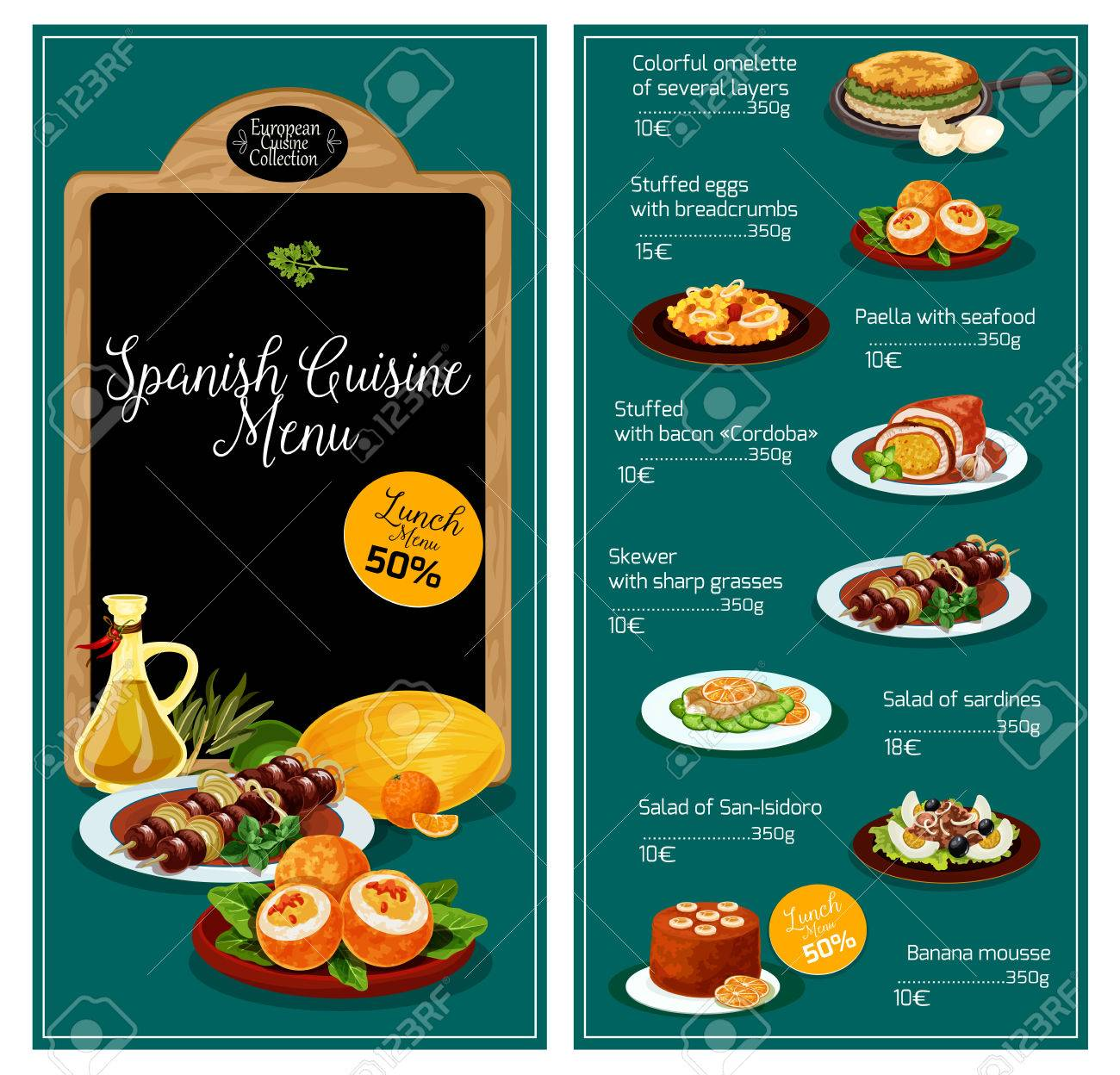 Vektor-Menü Für Spanische Küche Restaurant Lizenzfrei Nutzbare ...