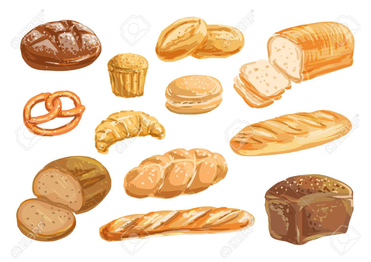 Bread And Bakery Product Watercolor Drawing Set Royalty Free Cliparts Vectors And Stock Illustration Image 78183626