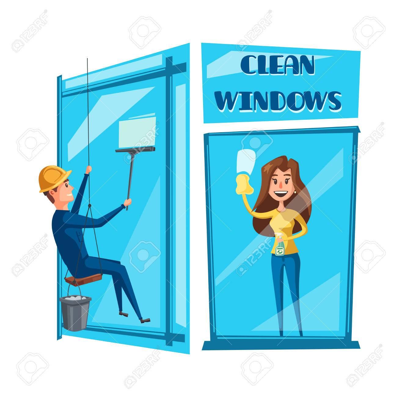 Jeu Dicônes De Nettoyage De Fenêtre Laveur De Vitres Dans Une Fenêtre De Bureau De Nettoyage Uniforme Avec Une Raclette Et Une Fenêtre De Lavage De