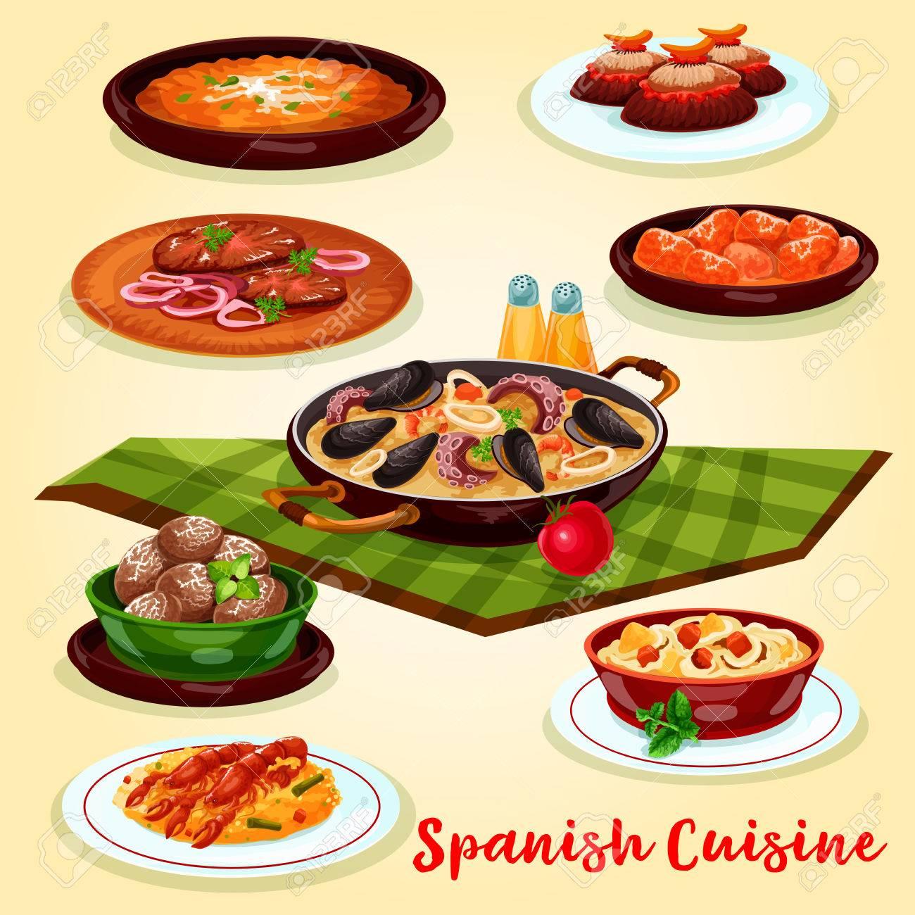Spanische Küche Abendessen Menü Cartoon Poster. Meeresfrüchte Und ...