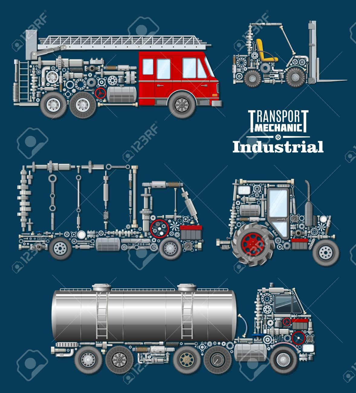 Industrietransportmechaniker Poster. Autotruck, Löschfahrzeug, Lader ...