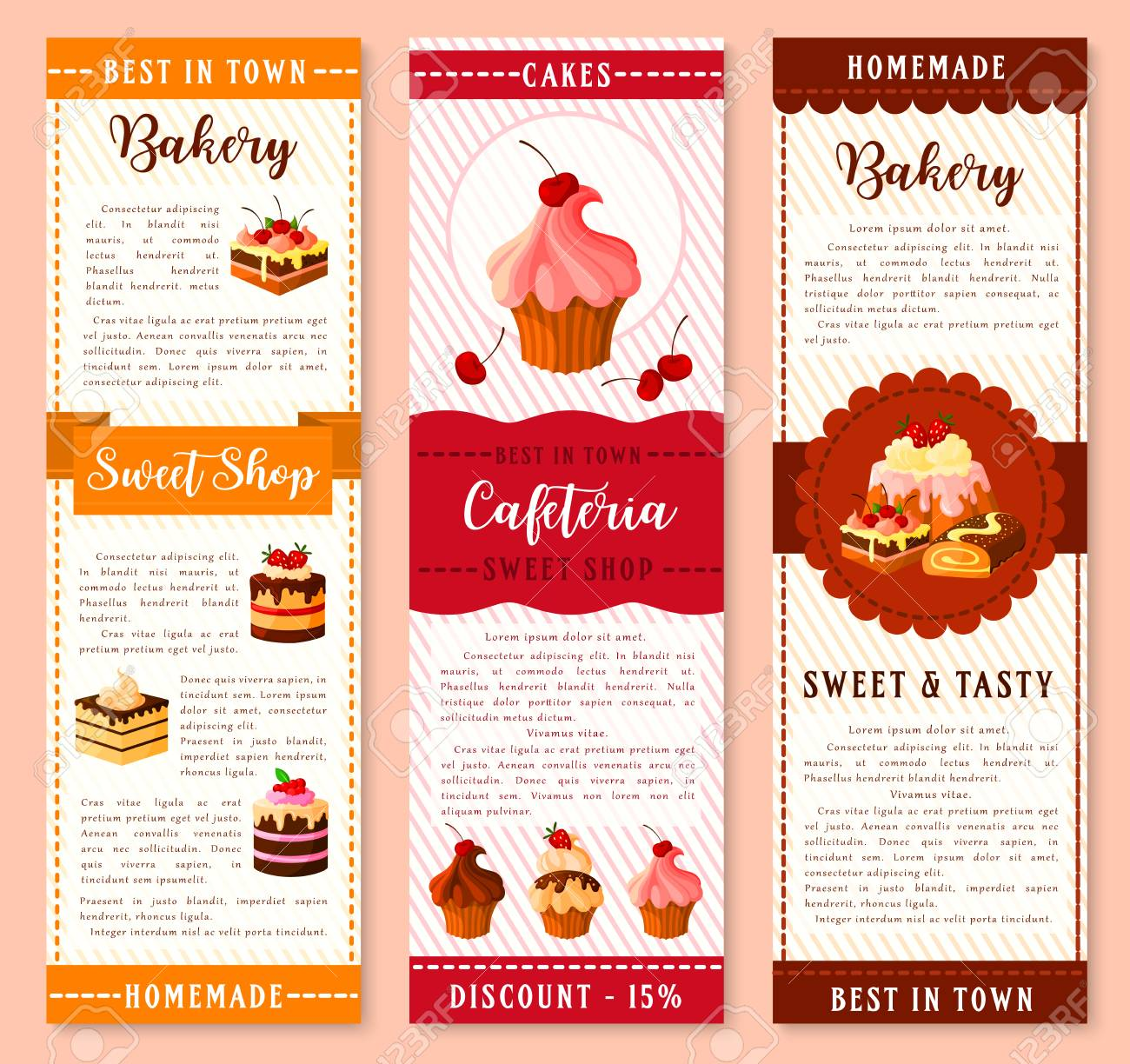 Cake Bakery And Pastry Dessert Banner Template Cake And Cupcake