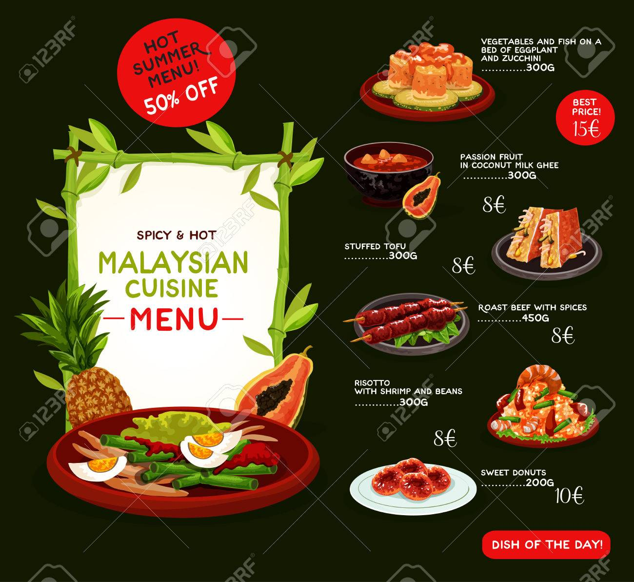 Malaysian Cuisine Menu Template For Asian Restaurant Grilled