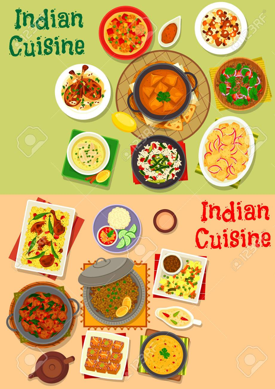 Cuisine Indienne Diner Plats Menu Jeu D Icones Curry De Viande Riz