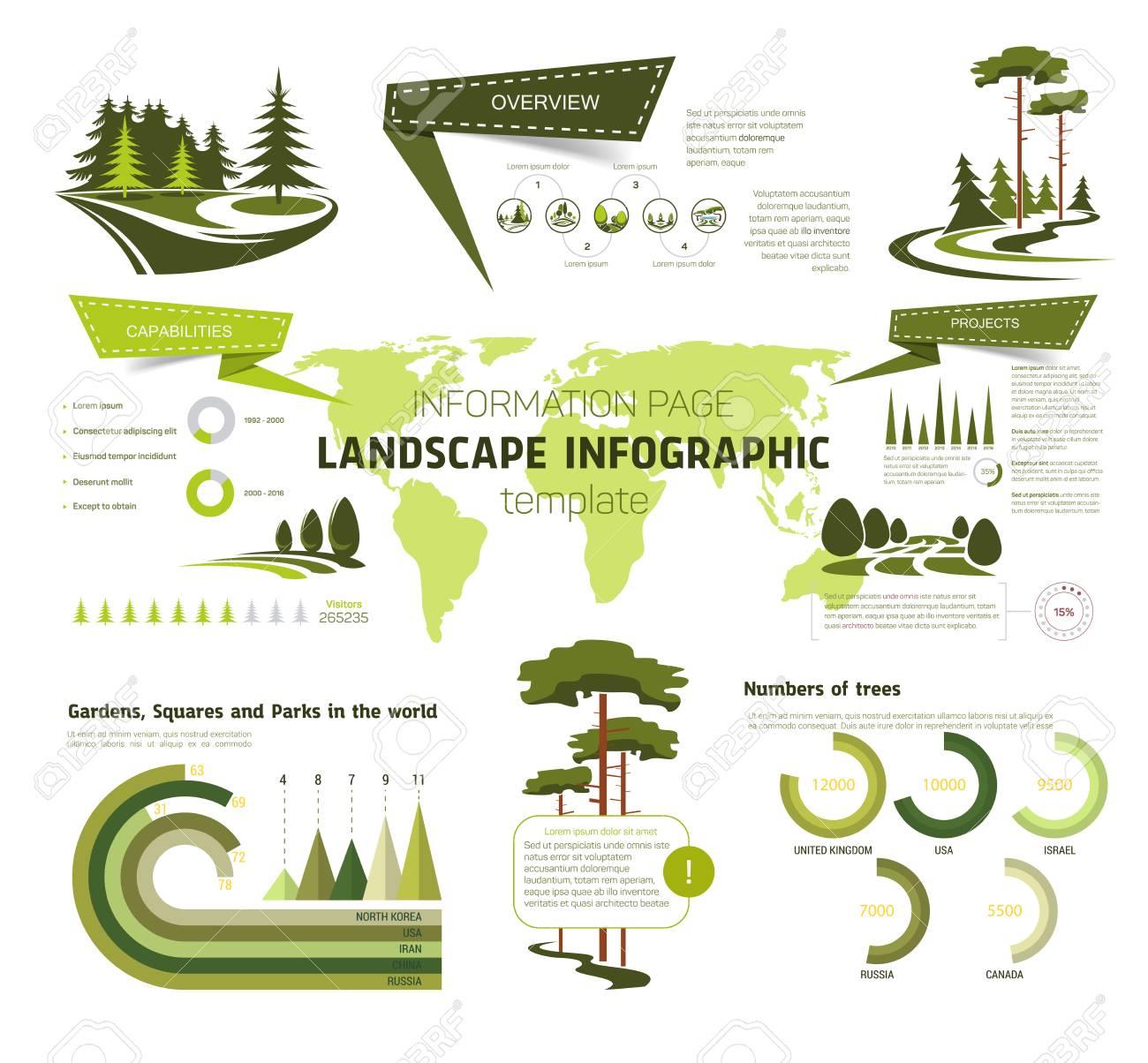 Diseño De Paisaje Infografía. Plantilla De Página De Información Con ...