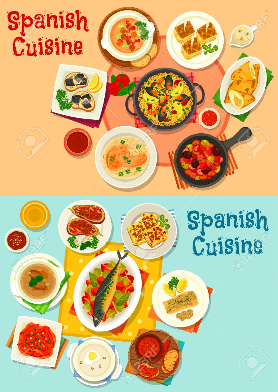 Cocina Española Icono De Menú Con Mariscos Paella, Tapas De Pescado ...