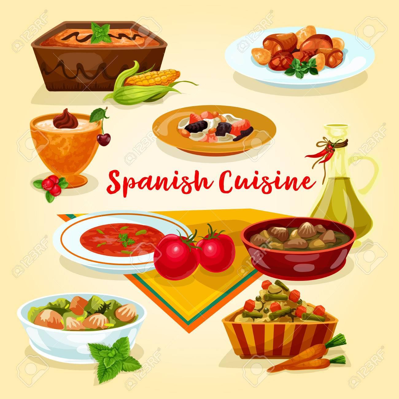 Cocina Española Sabrosa Cena Platos Icono De Dibujos Animados. Carne ...
