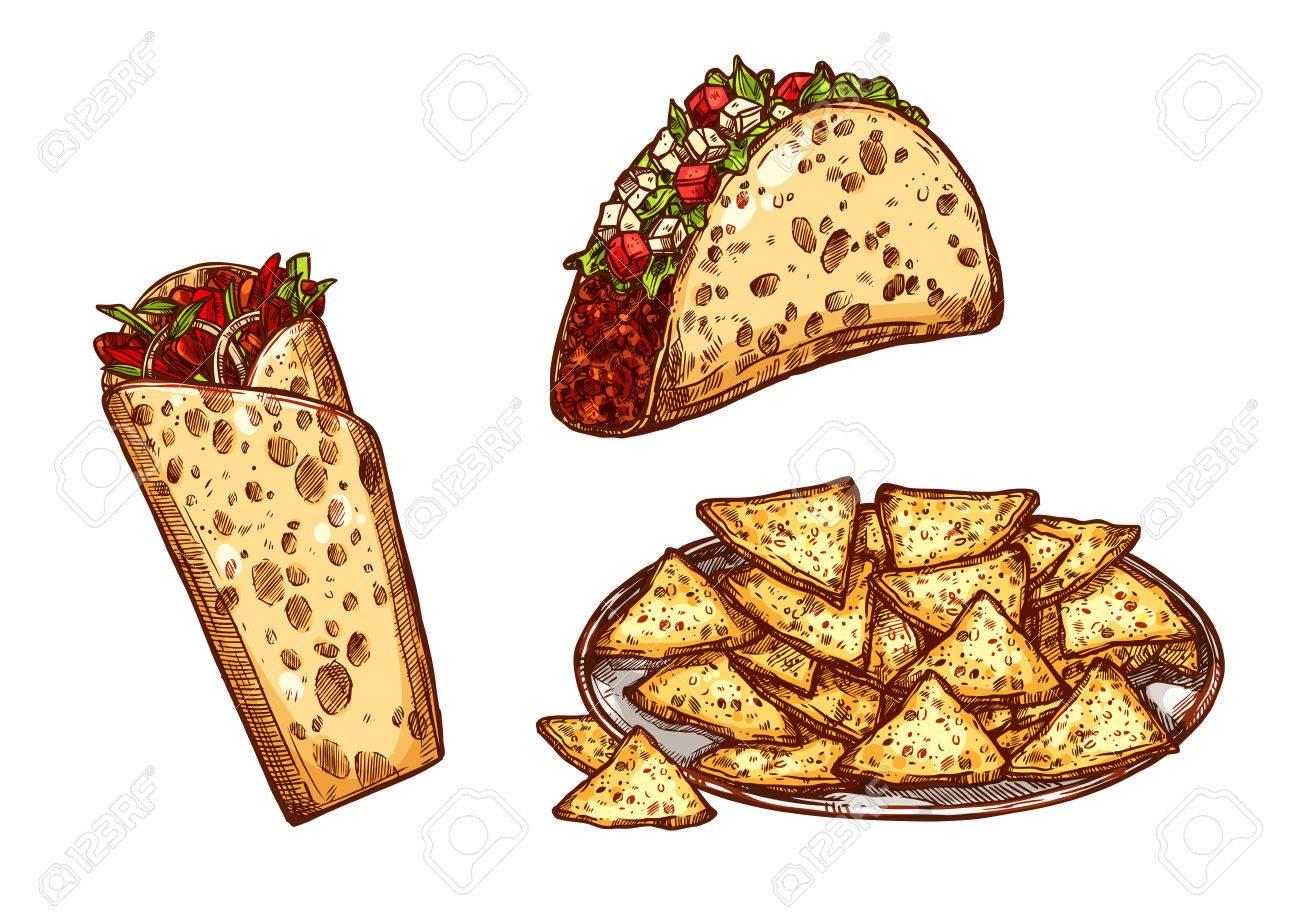 Fast Food Tacos, Burrito Und Nachos Chips. Vector Skizze Isoliert ...