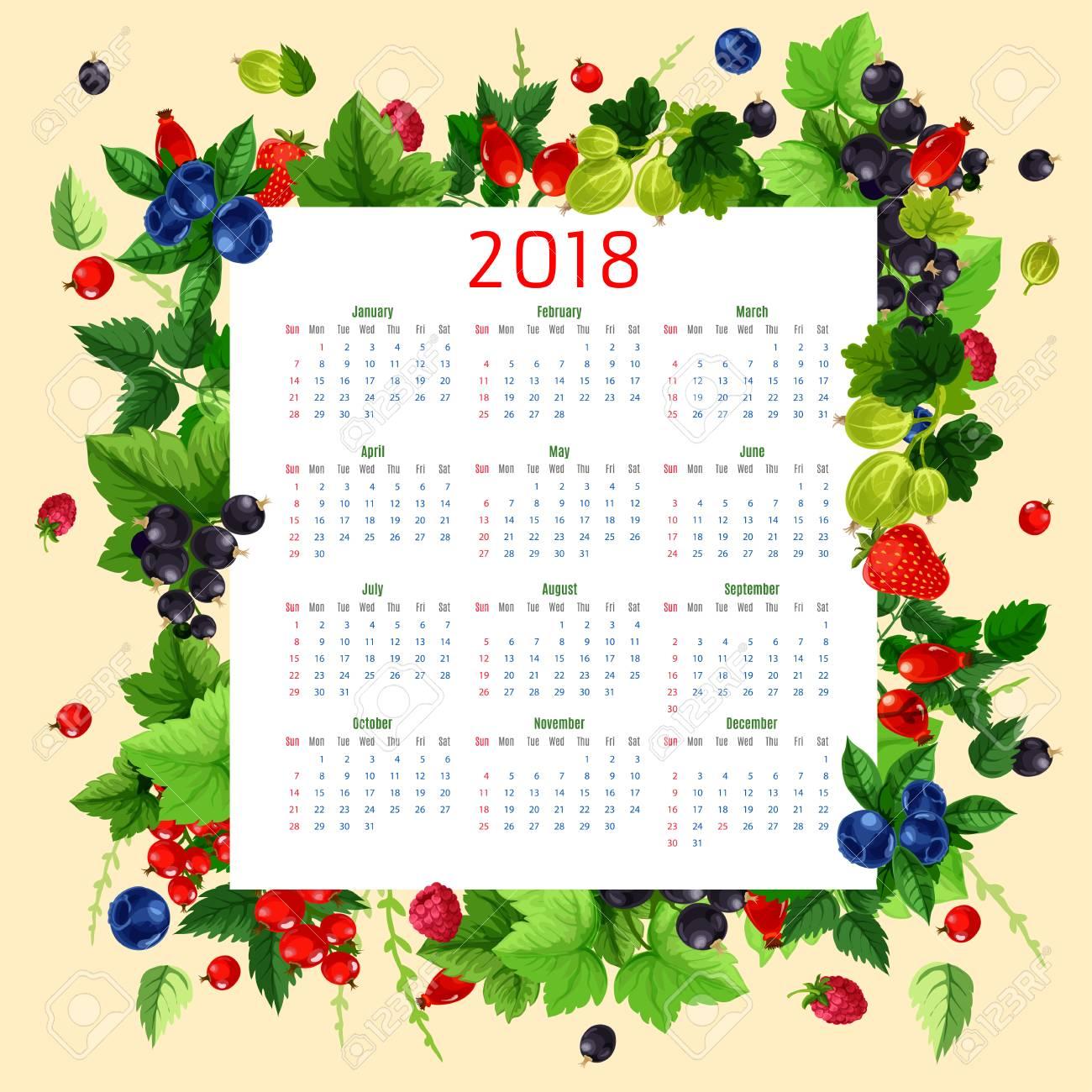 Beeren-Kalender Für 2018. Vektor-Design-Vorlage Mit Beeren Rahmen ...
