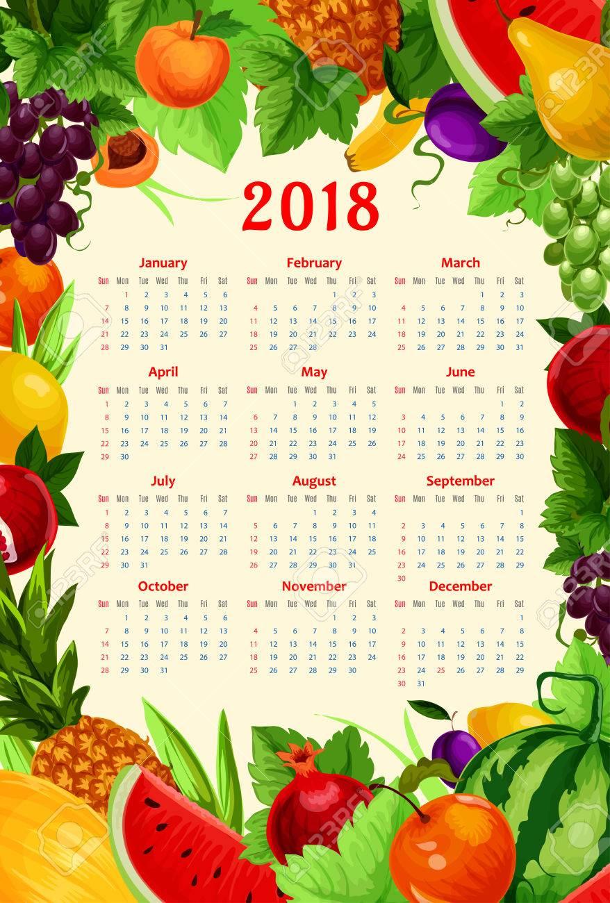 Frutas Frescas Calendario 2018 Plantilla. Diseño De Marco De Vector ...
