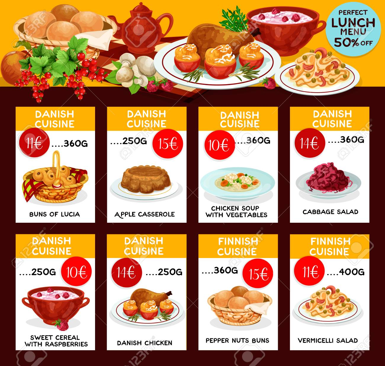Vector lunch menu template for danish cuisine royalty free vector lunch menu template for danish cuisine stock vector 79574759 pronofoot35fo Images
