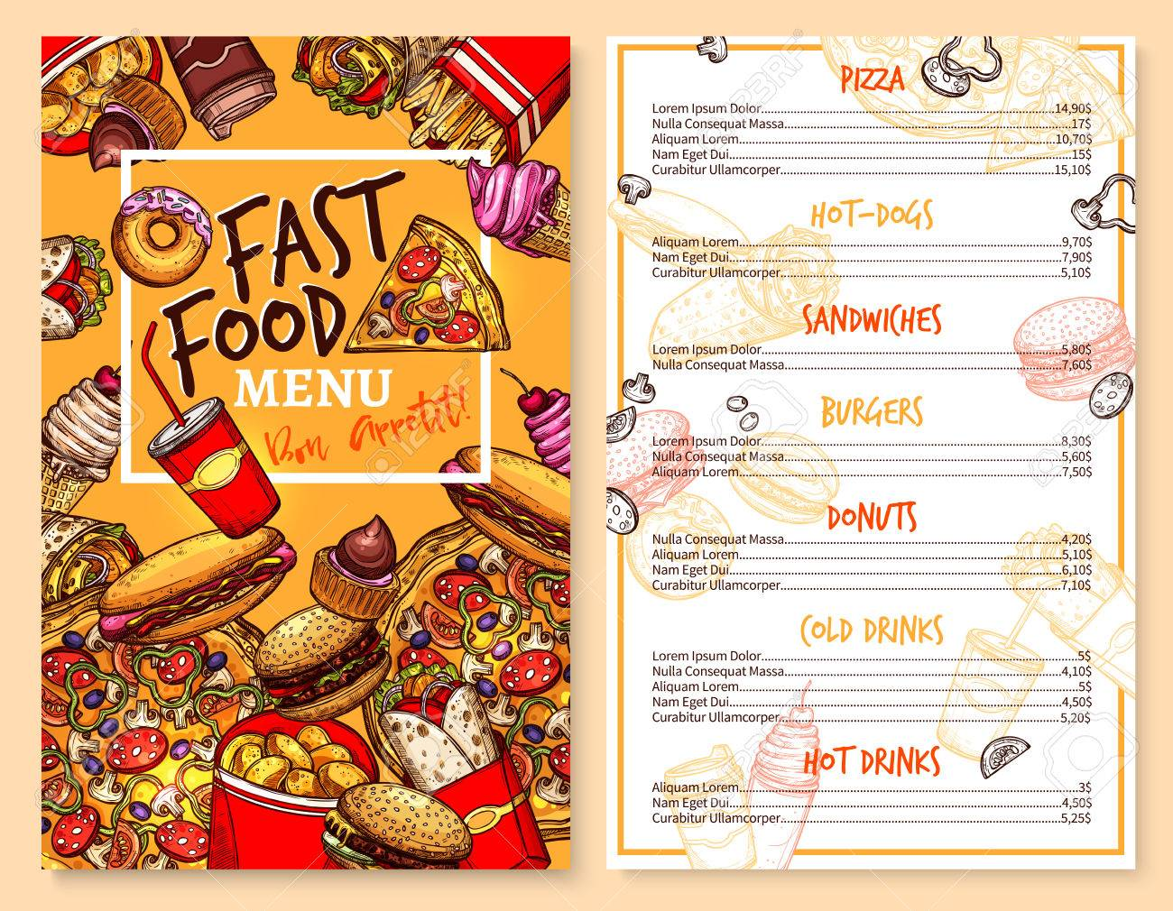 Fast Food Menu Template Of Snacks And Meals Vector Stock Vector   79573628  Free Food Menu Template