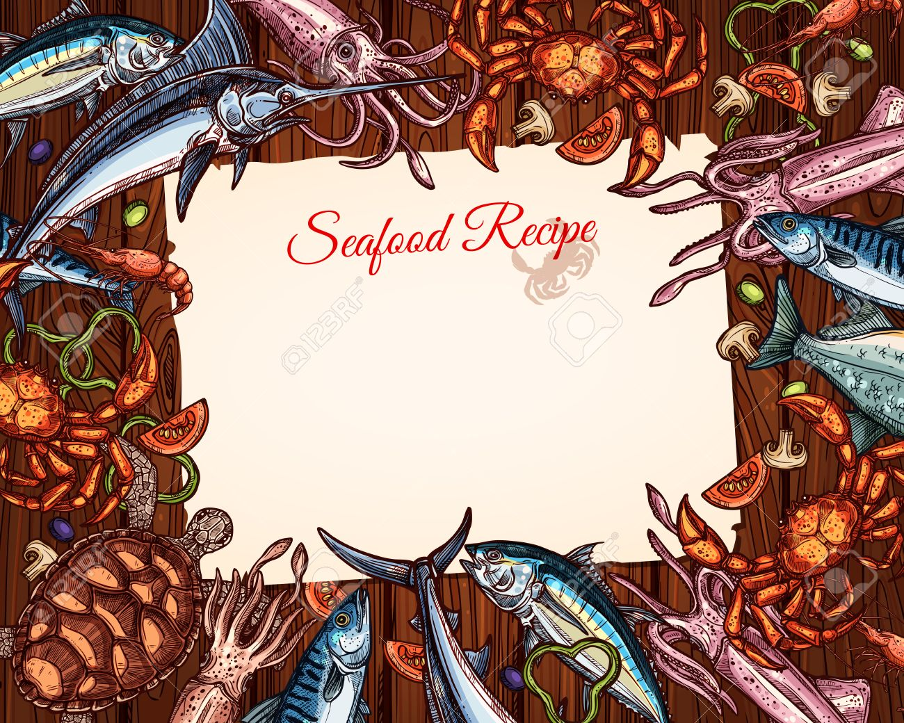 a vector cooking recipe template of seafood and fish royalty free