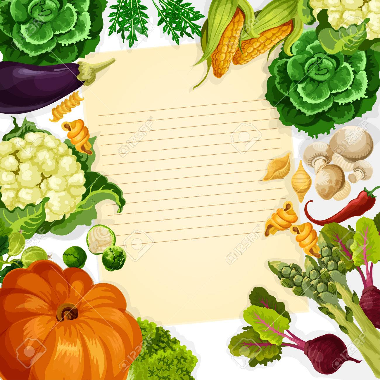 cooking recipe vector template of vegetables and farm veggies