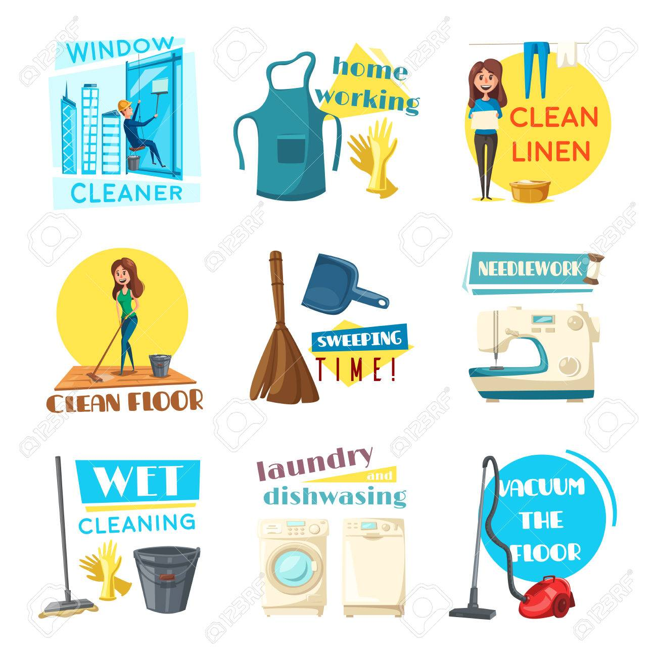 Home cleaning and homework vector flat design icons set woman washing dishes at kitchen sink