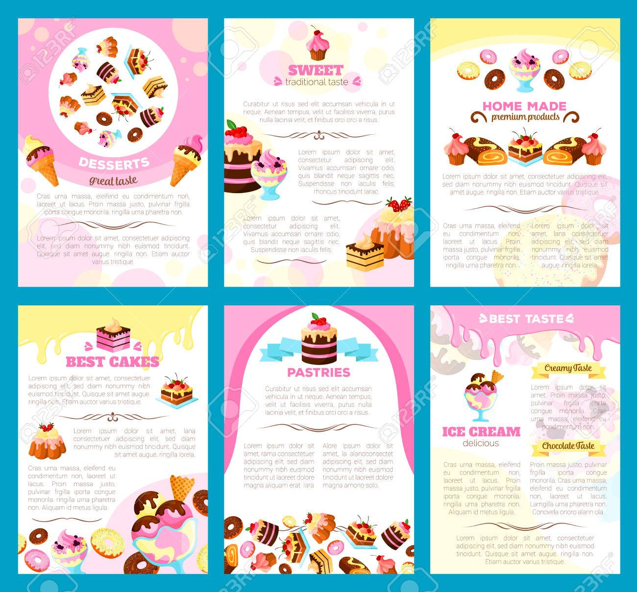 Desserts And Bakery Shop Brochure Or Poster Of Vector Sweet Cakes - Bakery brochure template free