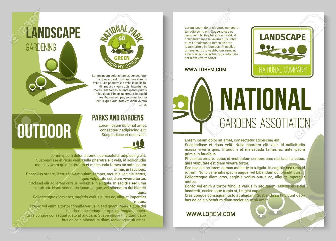 Plantilla De Cartel De Diseño De Paisaje Y Jardinería Ilustraciones ...