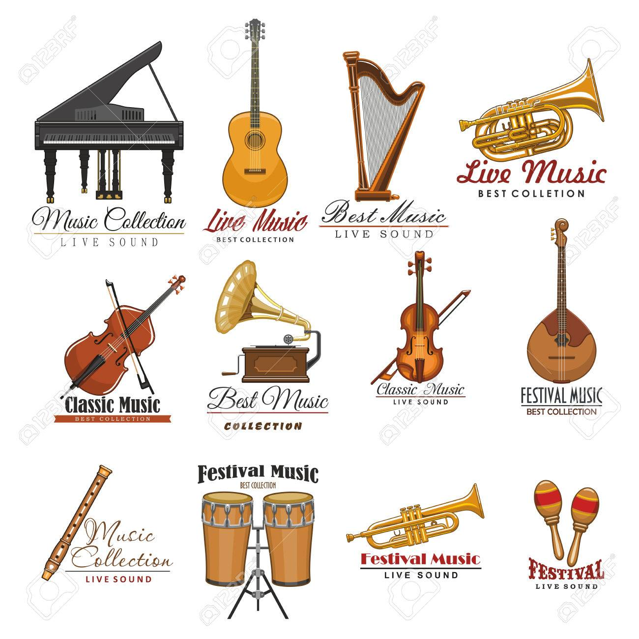 Musical Instrument Symbol Set For Music Design Royalty Free Cliparts