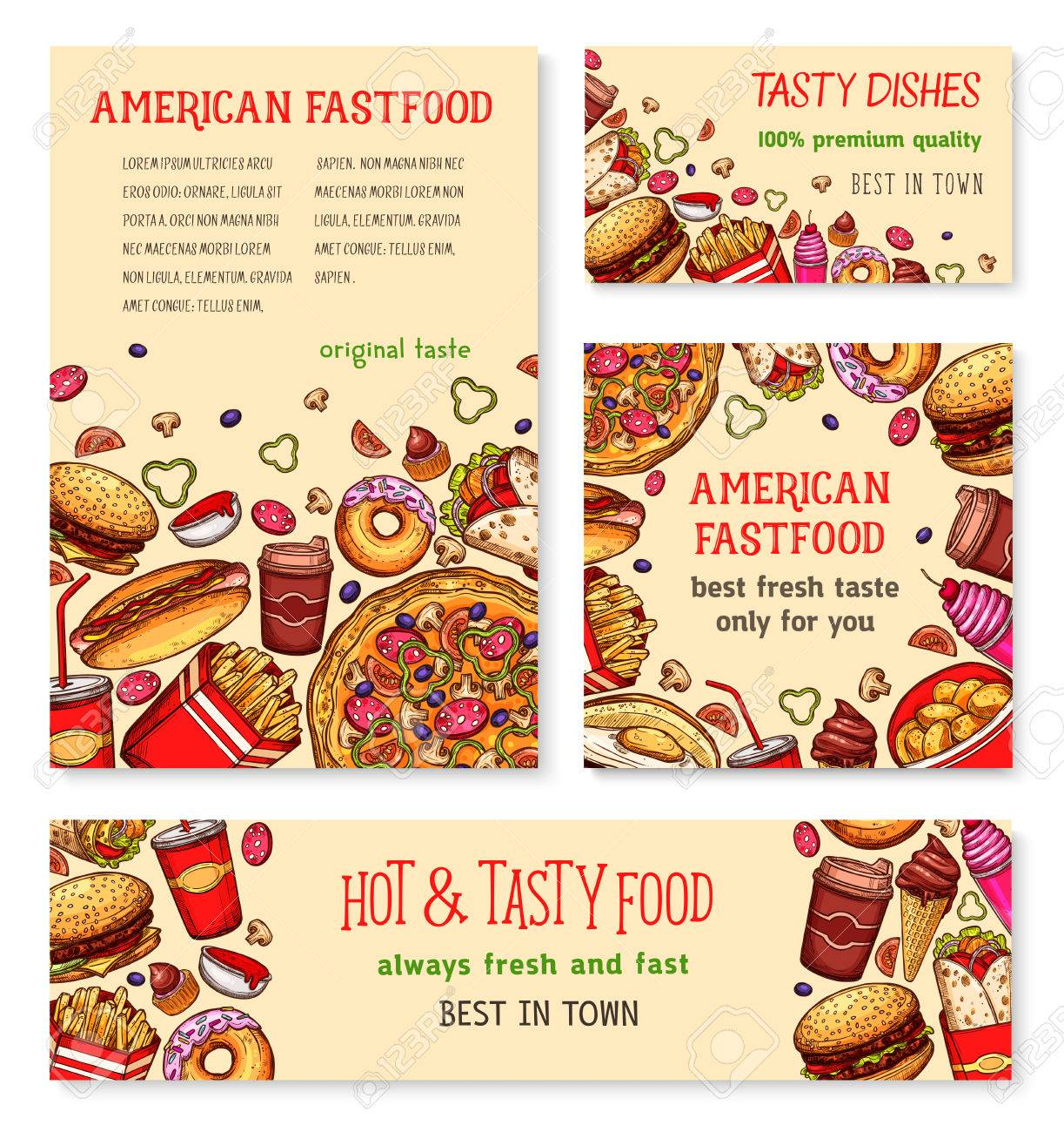 Fast Food Banner And Poster Template Set Design Royalty Free