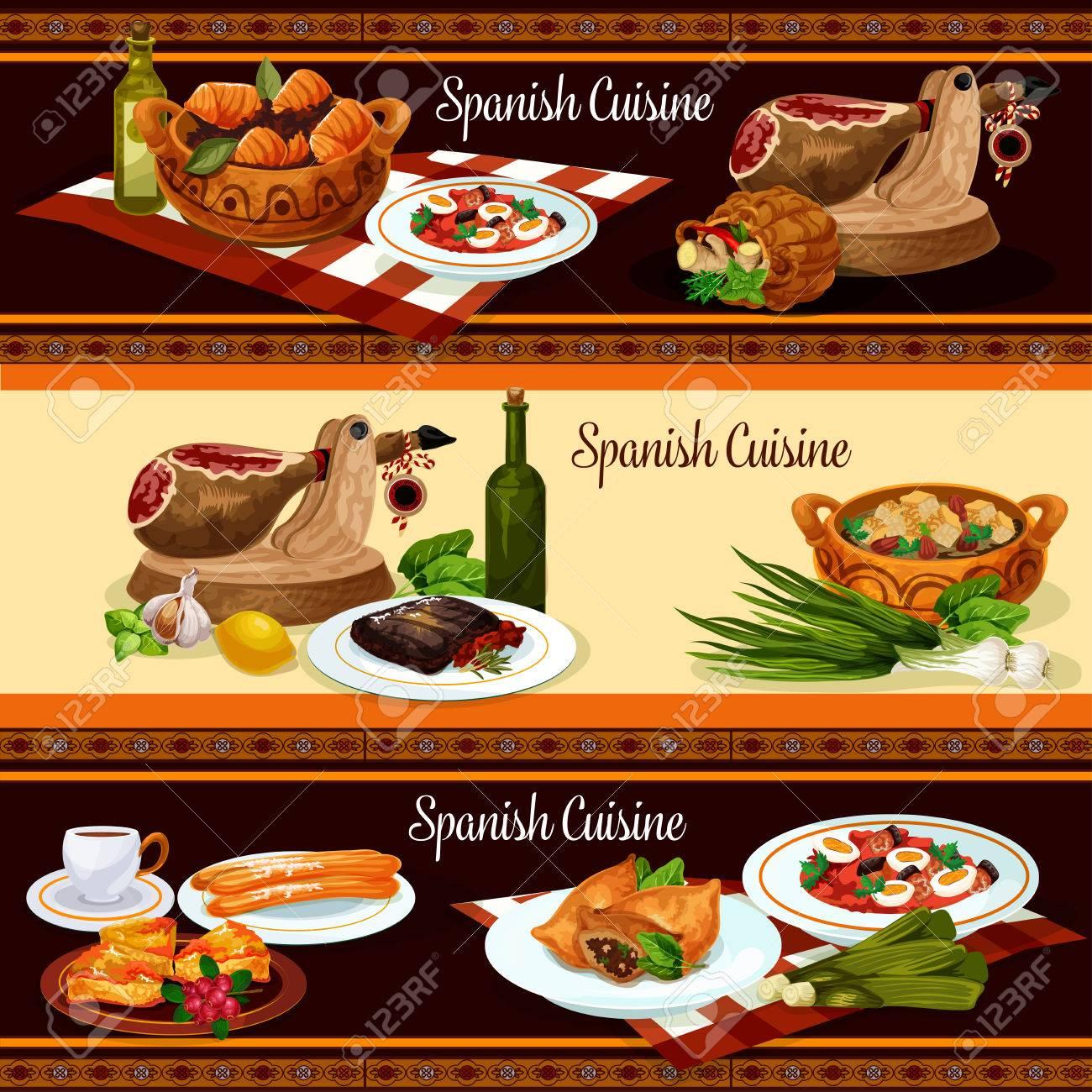 Spanische Küche Restaurant Menü Banner Set Design Lizenzfrei ...