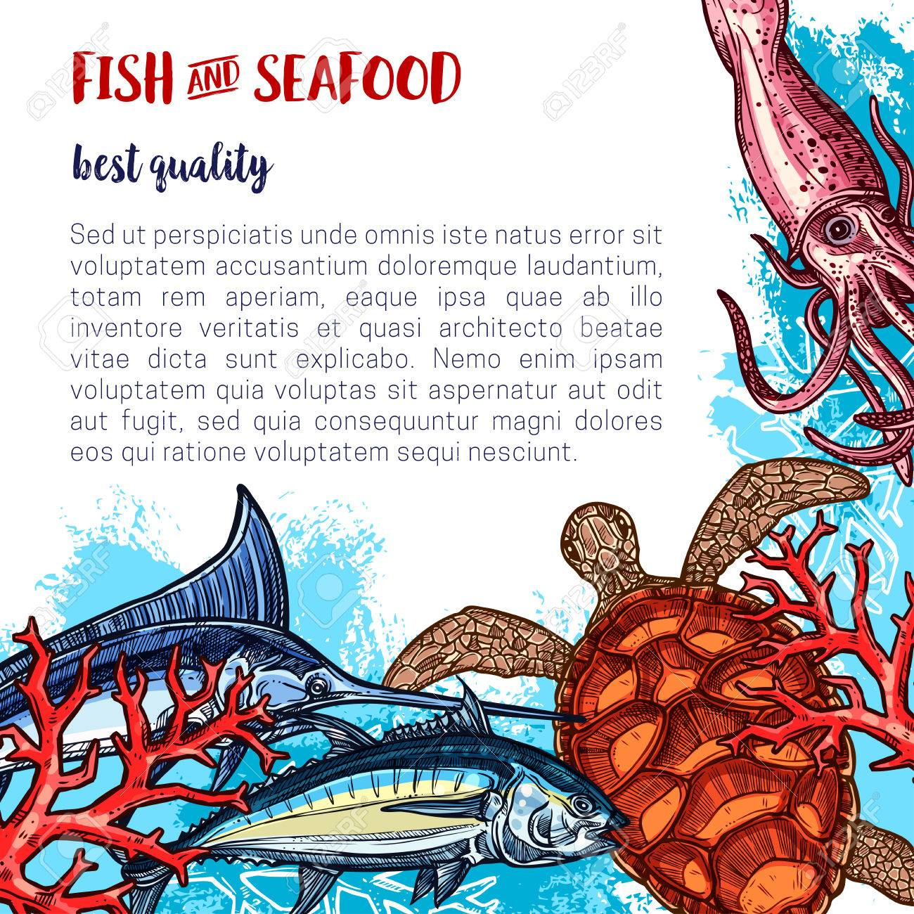 Fresh Seafood Poster For Fish Or Sea Food Market Or Restaurant Royalty Free Cliparts Vectors And Stock Illustration Image 82097679