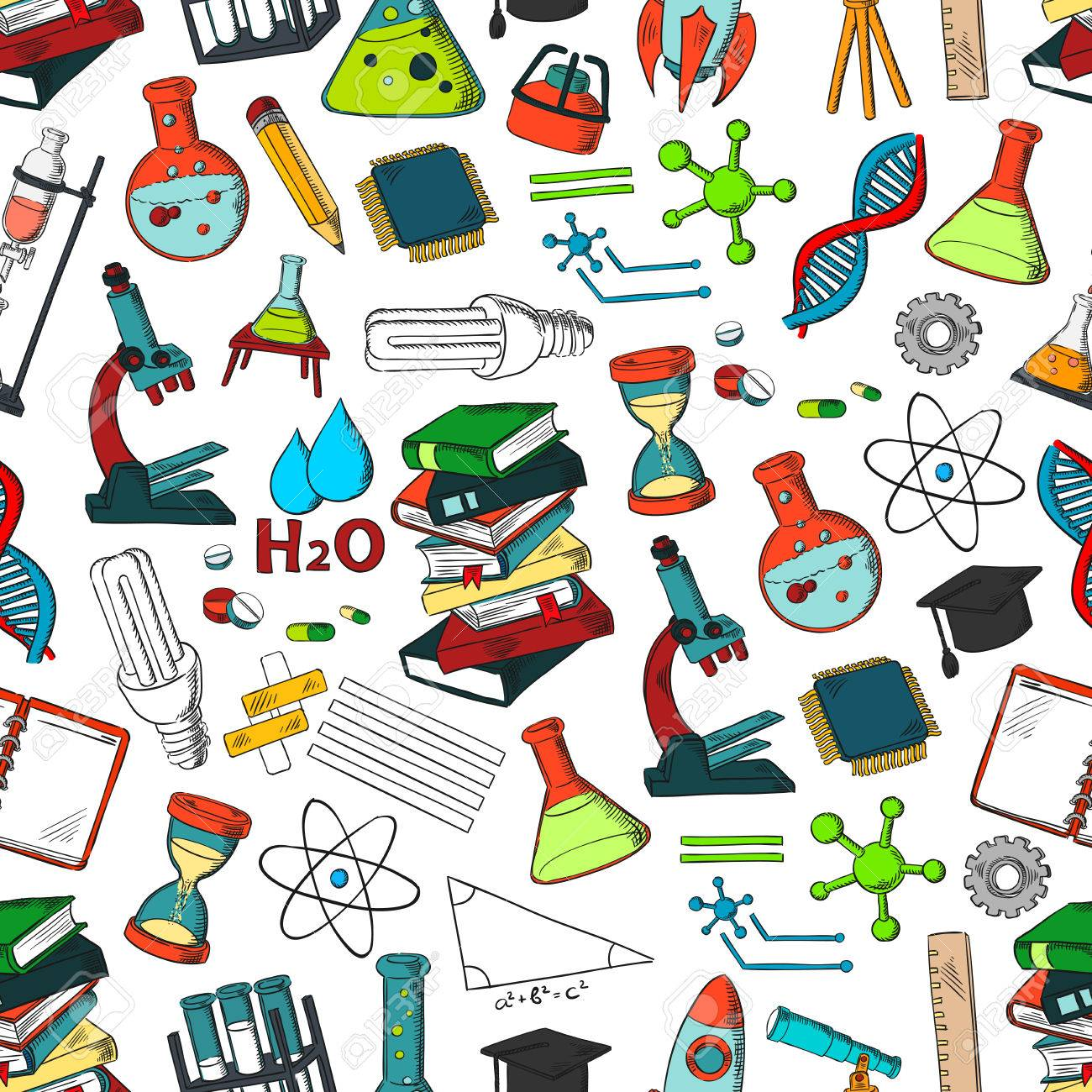 School supplies and science symbols pattern like microscope school supplies and science symbols pattern like microscope beaker vials atom formula buycottarizona Image collections