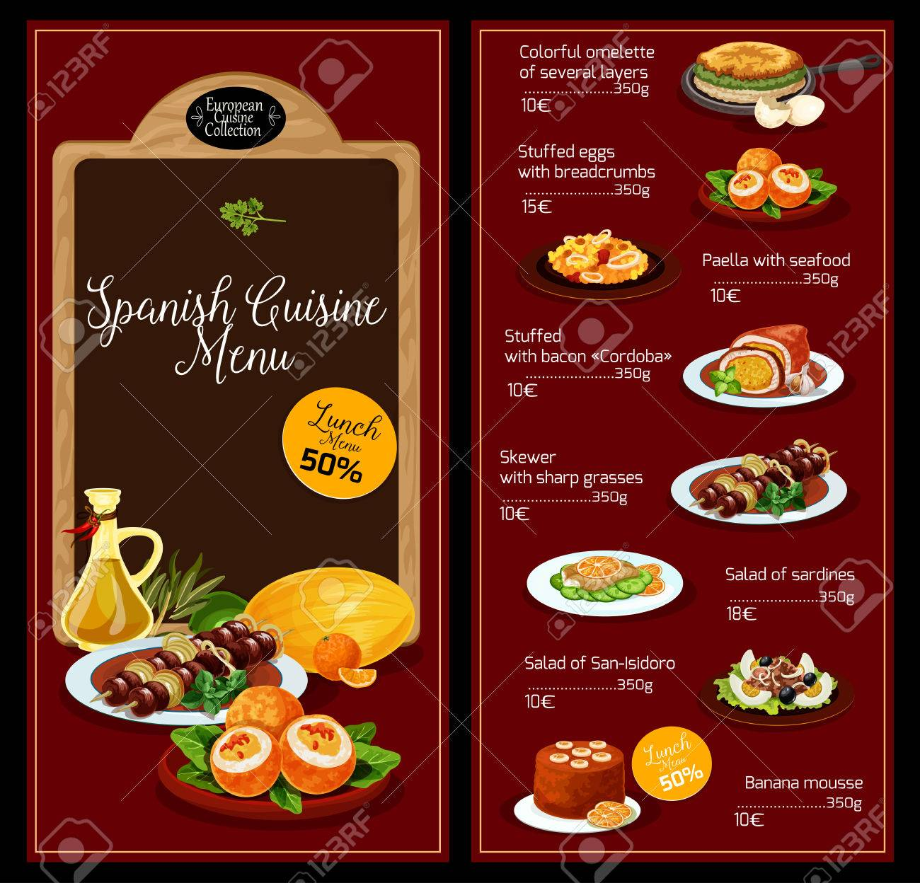 Vector Lunch Menu Template For Spanish Cuisine Royalty Free Cliparts