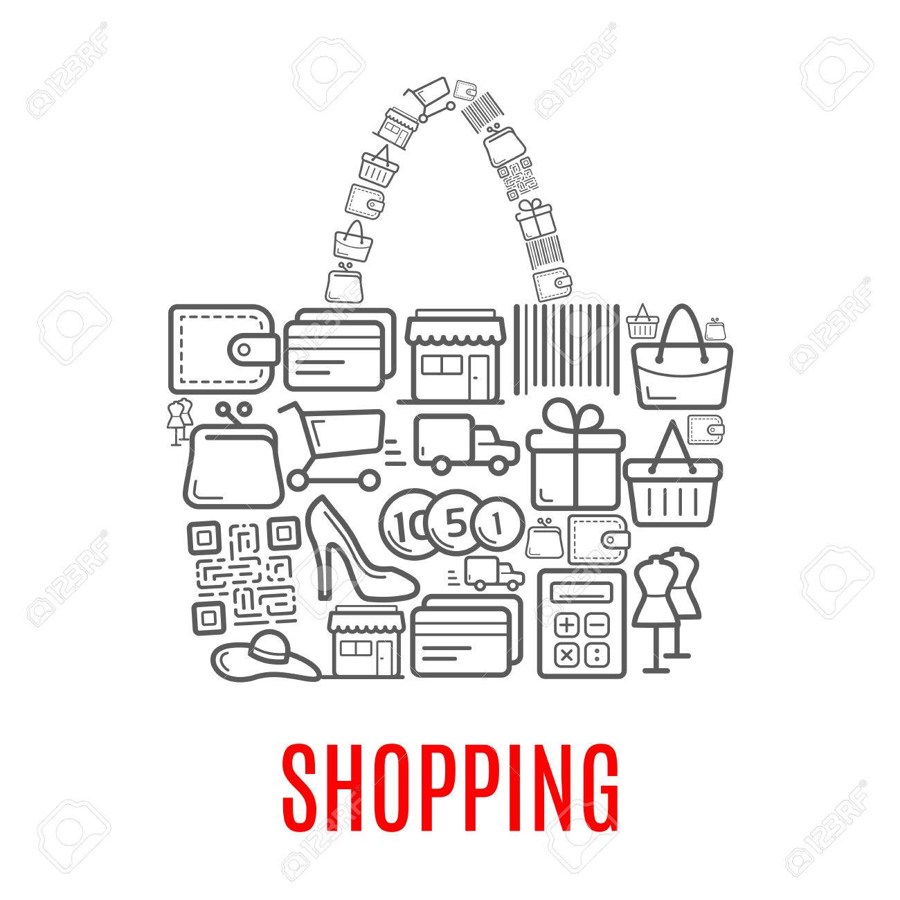 Shopping Poster Of Woman Shop Bag Or Purse Combined Of Vector ...