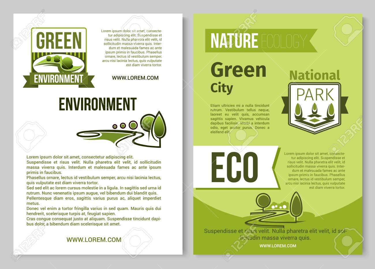 Cartel De Vector De Naturaleza Verde Del Entorno Ecológico ...
