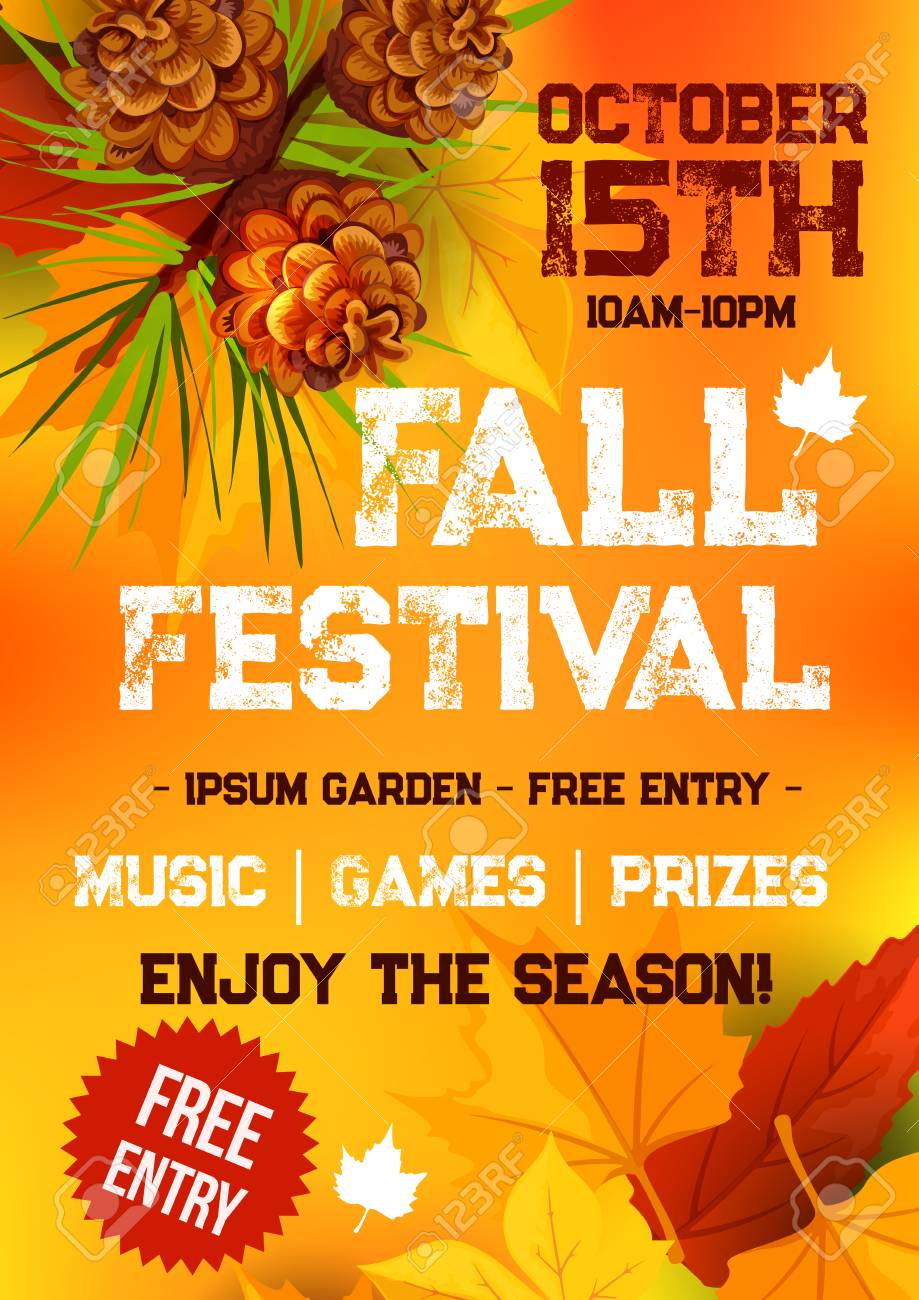 Fall harvest festival and autumn season party banner. Fallen leaves, orange and yellow maple foliage, pine tree branch with pinecone and text layout for poster or invitation flyer template design - 83687722