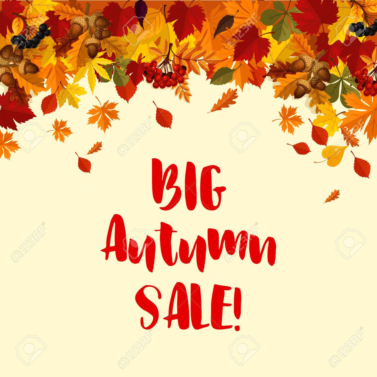 autumn big sale poster template of falling leaves oak acorns