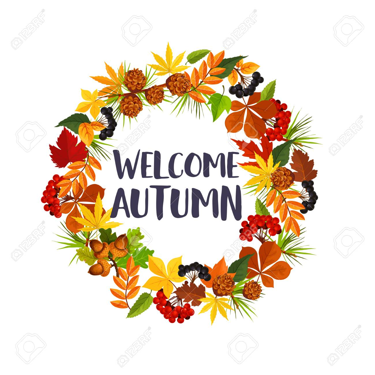 Welcome Autumn Poster Of Fall Maple Leaf Oak Acorn Or Rowan