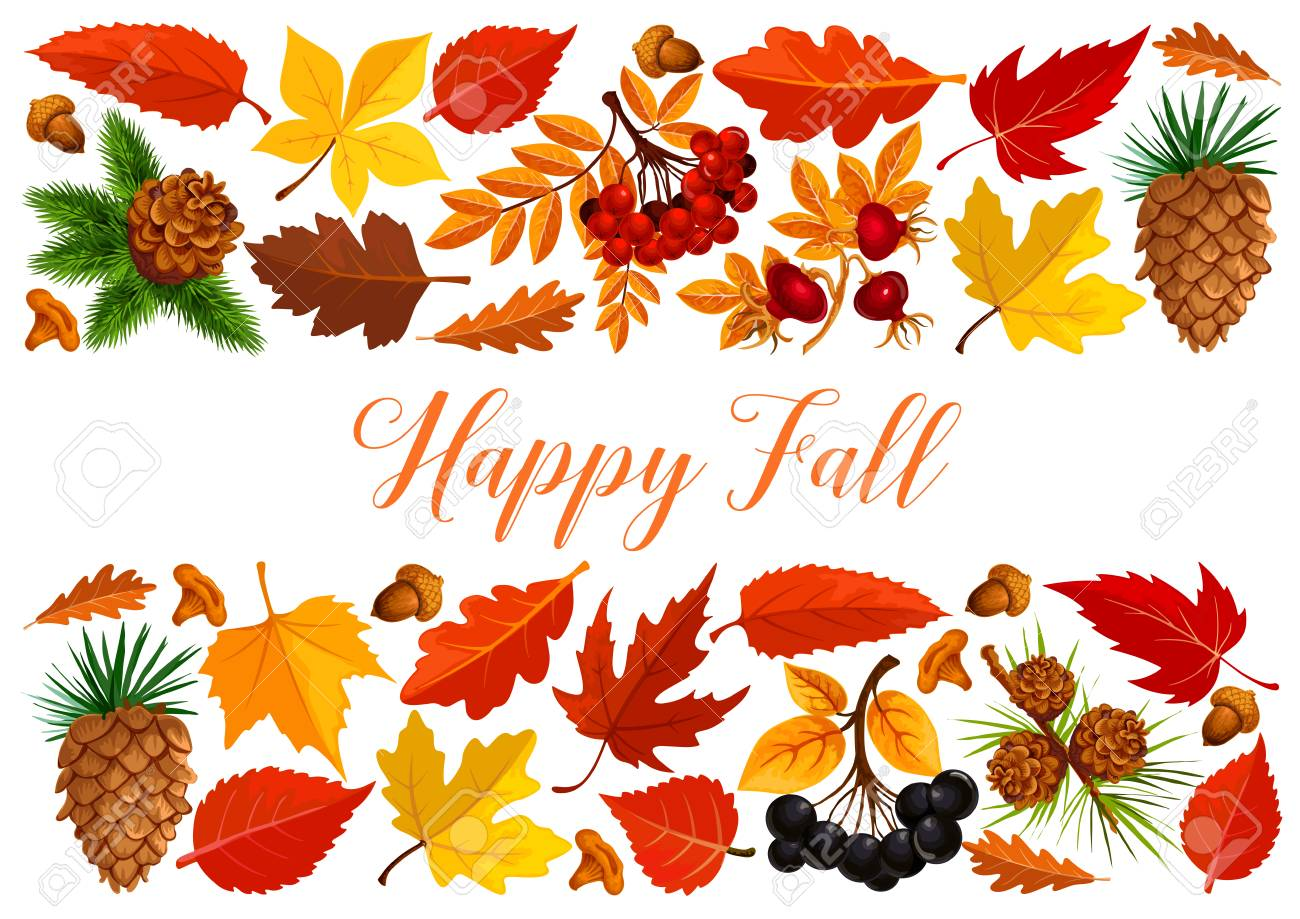 Happy Fall Banner With Autumn Leaf Border Royalty Free Cliparts, Vectors, And Stock Illustration. Image 83719799.