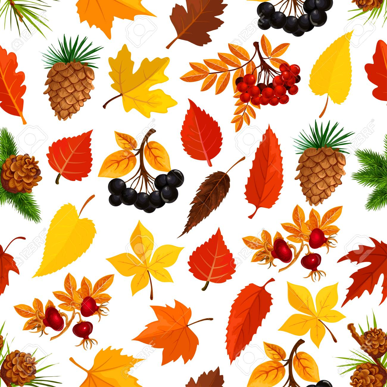 foto de Seamless Autumn Pattern Background Of Fall Nature Royalty Free ...