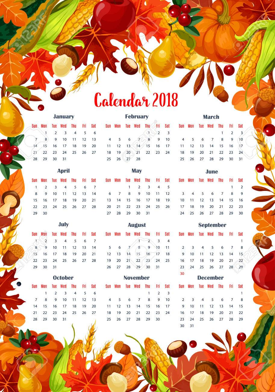 autumn seasonal calendar 2018 template vector design of maple