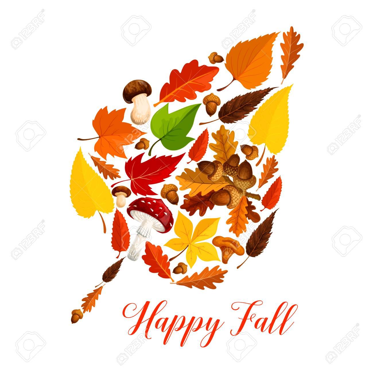 Autumn leaf with mushroom, fallen foliage, acorn - 83853584