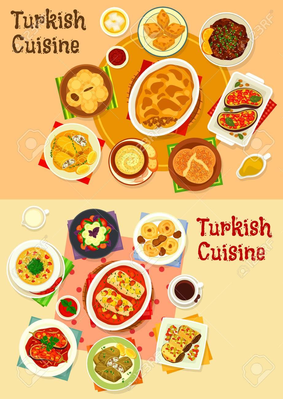 Turkische Kuche Abendessen Mit Freude Icon Set Lizenzfrei Nutzbare