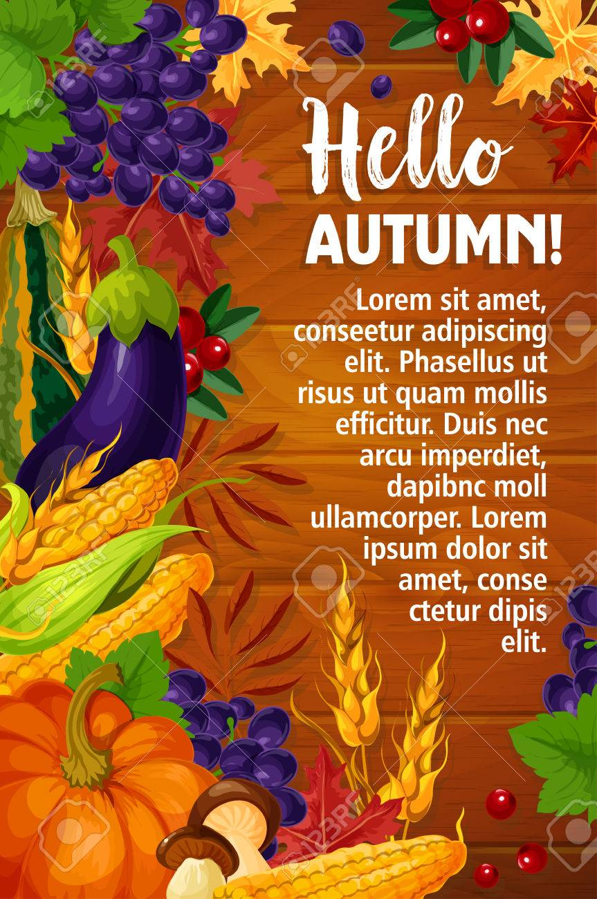 Wonderful Autumn Or Hello Fall Vector Poster Of Foliage Harvest Stock Vector    84739548