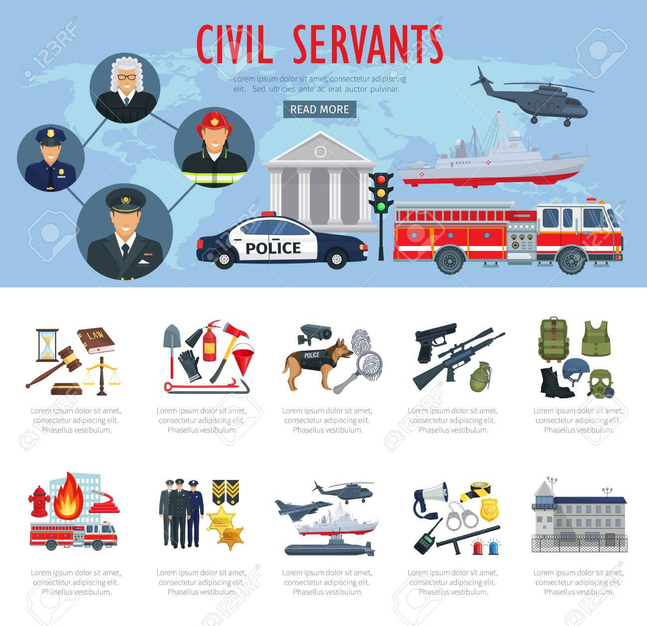 Poster of civil servants, judge, police and aviation - 84969532