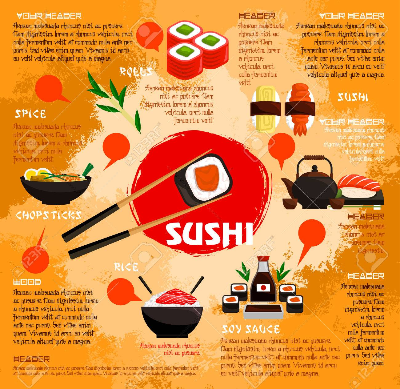Sushi bar poster or menu template for japanese seafood restaurant sushi bar poster or menu template for japanese seafood restaurant vector sushi rolls with tempura pronofoot35fo Gallery
